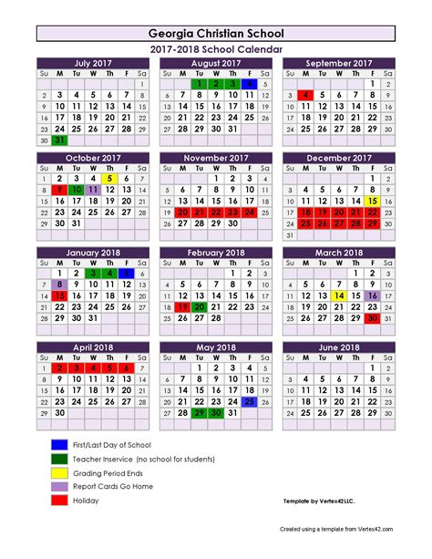 yearly school calendar template 2017 2018 school calendar christian school