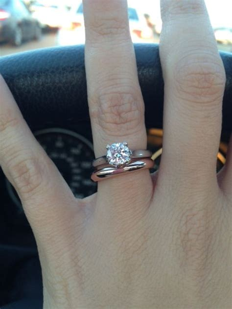 solitaire with plain gold band engagement rings