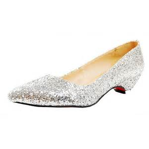 Comfortable Wedge Bridal Shoes Pointed Toe Sliver Glitter Low Heel Wedding Shoes