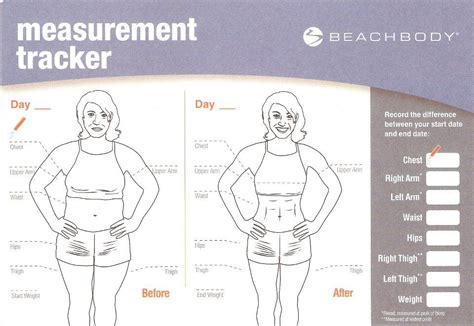 measurements template fit not 30 day shakeology challenge