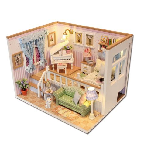 mini doll house hoomeda m026 diy wooden dollhouse because of you miniature doll house led lights