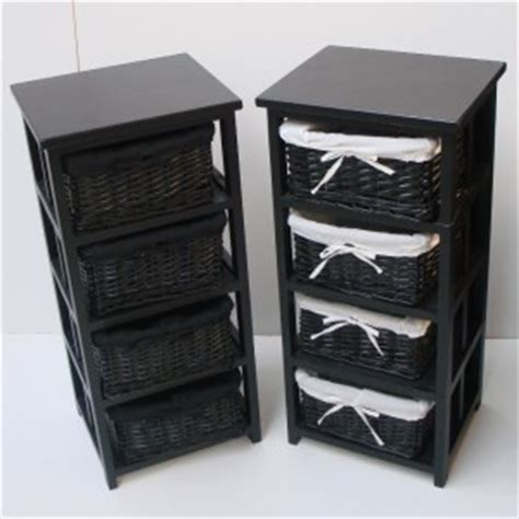 black bathroom cabinets and storage units 4 black basket draw bathroom storage unit floor cabinet ebay