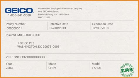 geico car insurance card template proof of auto insurance template free secrets to getting