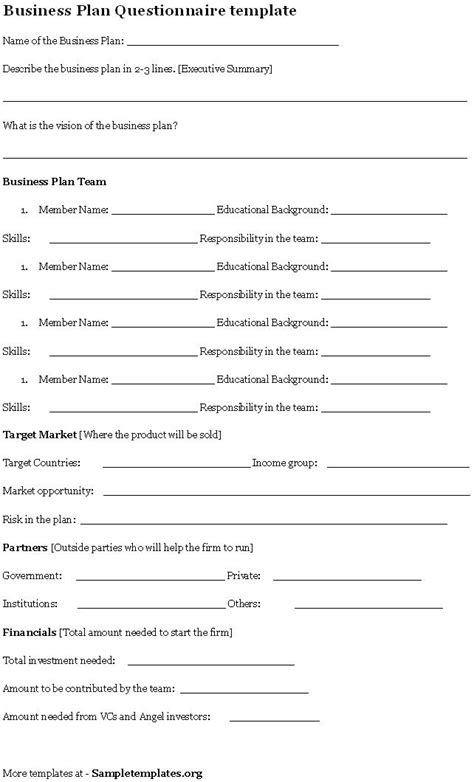 business template questionnaire template for business plan exle of
