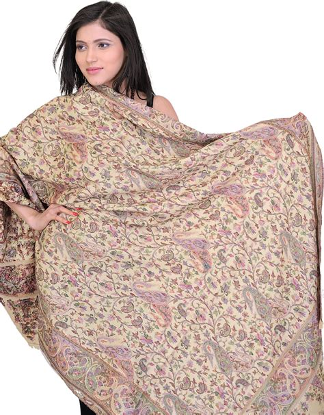 biscotti color biscotti color kani jamawar shawl with woven paisleys