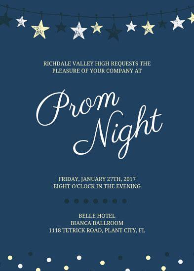 Stars Prom Invite Invitation Portrait Templates By Canva Prom Invitation Templates