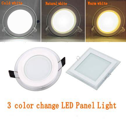led lights different colors 1pcs 3 color change glass led panel downlight 6w 12w 18w