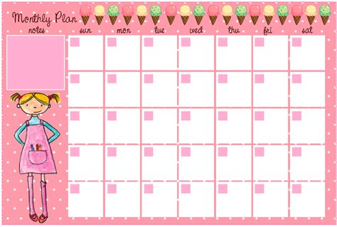 printable monthly calendar cute cute monthly planner