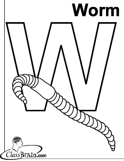 W Is For Worm Coloring Page by W Is For Worm Coloring Page Murderthestout