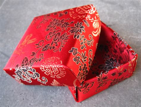 Fabric Origami Box - origami wit writing and design