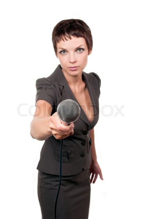 reporter decken auf kontakt journalist mit mikrofon isoliert auf wei 223 em hintergrund