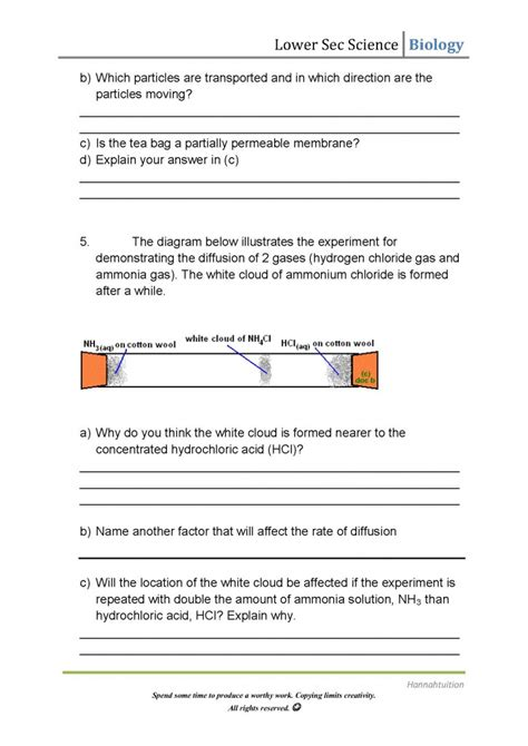 Osmosis And Diffusion Worksheet by Diffusion And Osmosis Worksheet Answers Resultinfos