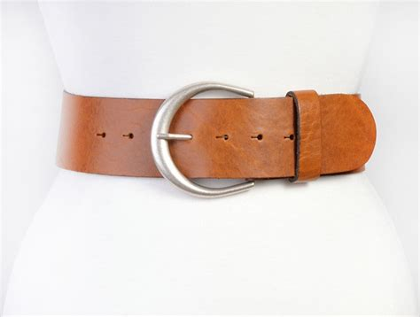 leather belt wide waist or hips curved buckle in