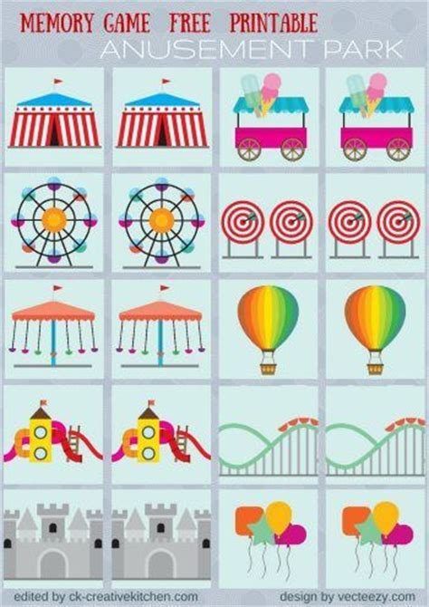 carnival themes for preschool circus and park memory game free printables