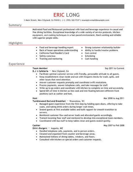 Resume Sles Restaurant Restaurant Bar Resume Exles Restaurant Bar Sle Resumes Livecareer