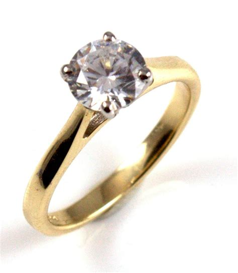 unique solitaire 9ct gold ring 1ct engagement ring