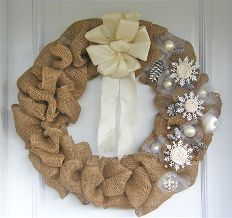 Dollar Store Diy Home Decor by Elegant Burlap And Snowflake Wreath Fynes Designs