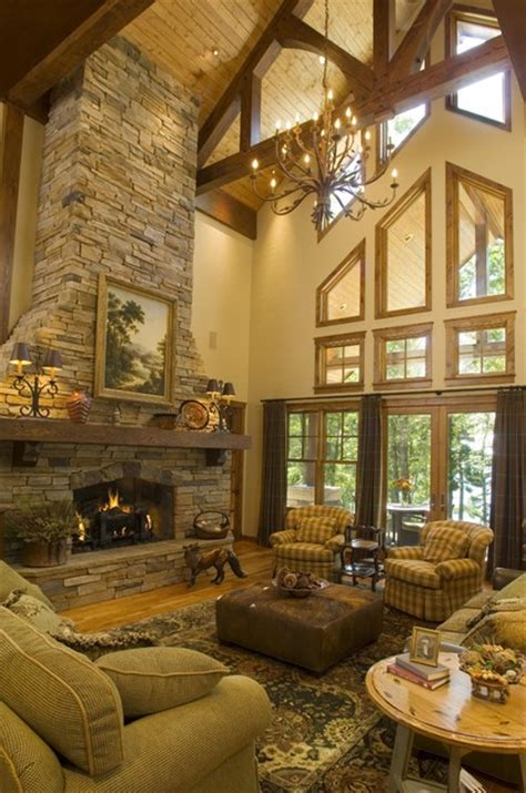 home design story rustic stove great room