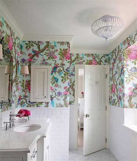 Small Bathroom Wallpaper Ideas by Floral Royal Bathroom Wallpaper Ideas On Small White