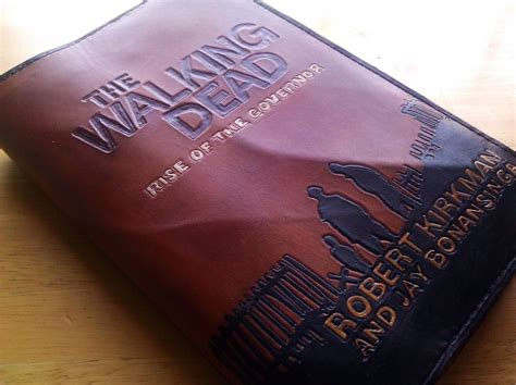 Handmade Leather Book Covers - handmade the walking dead leather book cover by evil duck