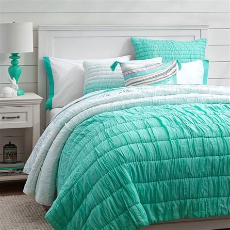 blue ombre bedding ombre ruched quilt sham pbteen