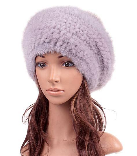 brown womens knitted mink hat vintage mink fur hats winter