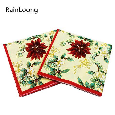 Napkin Tissue Decoupage 235 Rainloong Flower Paper Napkin Beige Festive