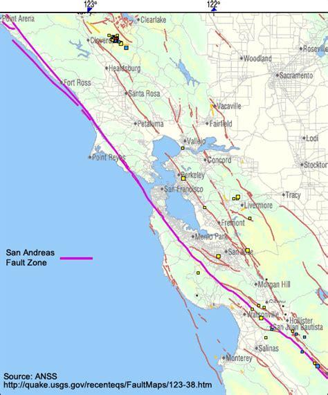 san francisco fault map san andreas fault san francisco map