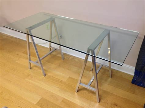 Glass Top Aluminum Saw Horse Leg Table Or Desk At 1stdibs Table Top Desk