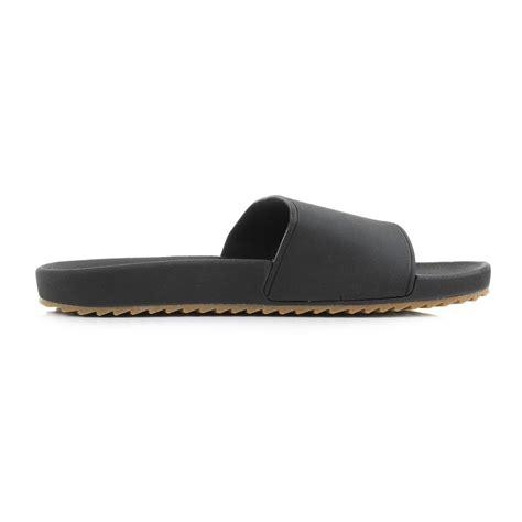 mens reef slidely black slides slide on sandals shu size