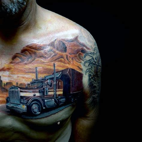 truck driver tattoos 60 truck tattoos for vintage and big rig ink design