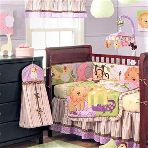 Jungle Animals Crib Bedding 4pc Pink Green Jungle Safari Animal Baby Crib Bedding Set W Bumper Ebay