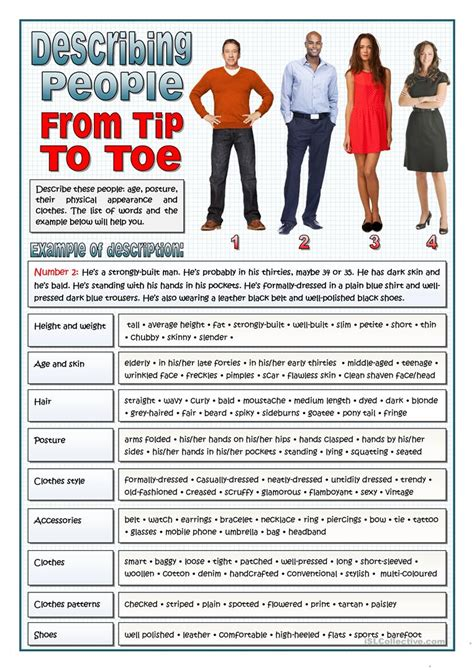 Esl Duties by Describing From Tip To Toe Vocabulary Worksheet Free Esl Printable Worksheets Made By