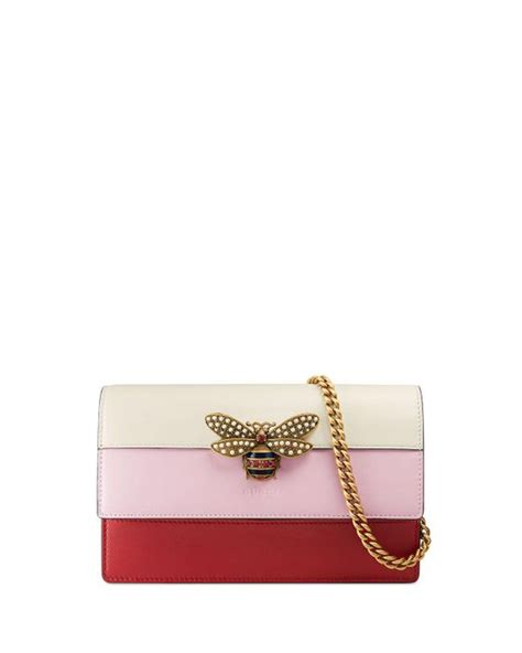 Gucci Woc Pink gucci fly colorblock wallet on a chain in pink lyst