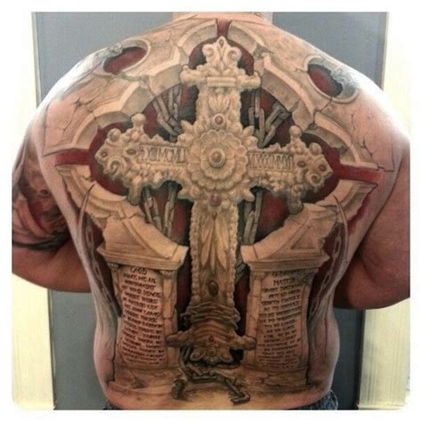 105 Beautiful 3d Cross Tattoo Croos On Back Tattoos