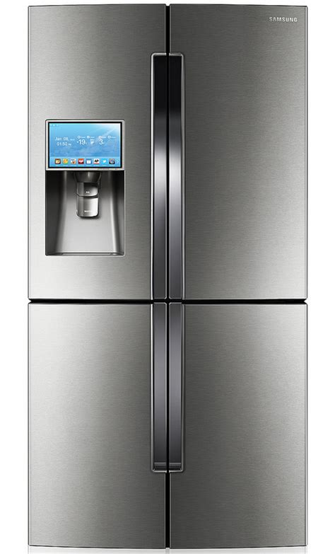 samsung 4 door refrigerator samsung t9000 four door refrigerator with android based lcd screen