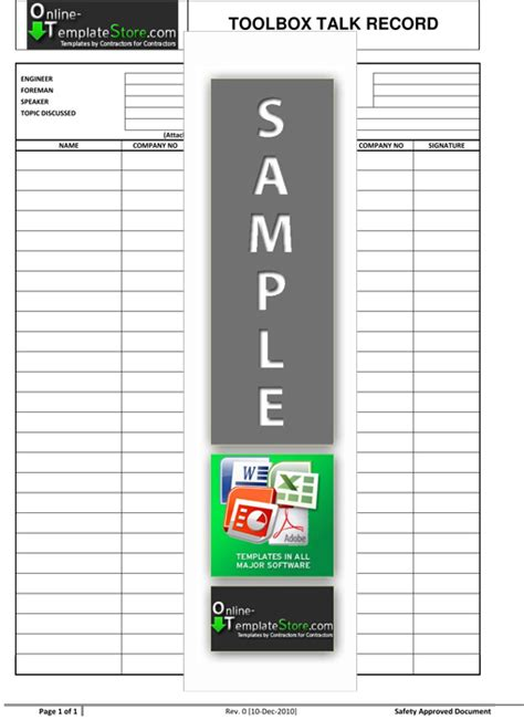 tool box talks template health safety construction template store