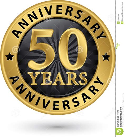 fifty years of illustration 1780672799 50 years anniversary gold label vector stock vector image 51356584