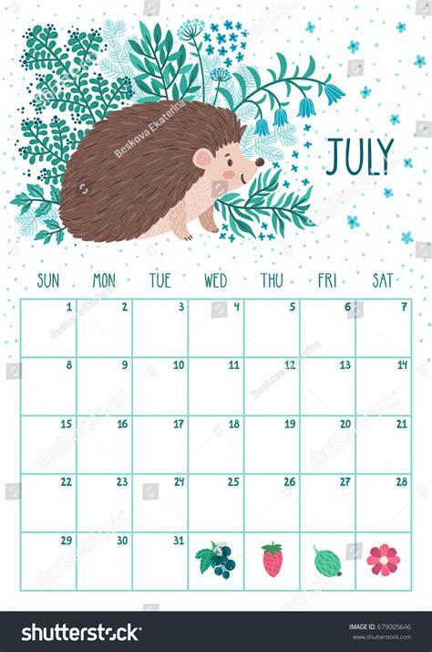 vector monthly calendar cute hedgehog july stock vector