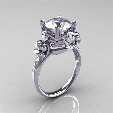 modern vintage 14k white gold 2 5 carat white sapphire