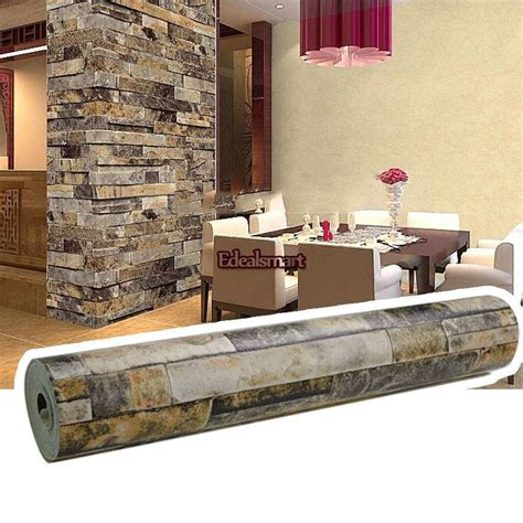 Wall 3d Brick Br1317 Blue 10m roll 3d stacked brick wall sticker blue beige