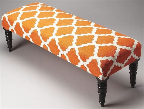 orange bench lyon orange quatrefoil upholstered bench 4289981 butler