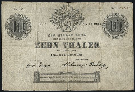 geraer bank de a 368 reuss geraer bank 10 thaler 1856 4