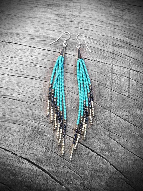 beaded fringe earrings beaded fringe earrings seed bead earrings american