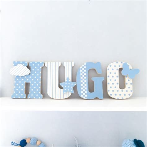 lettres pour chambre bébé lettres pr 233 nom en bois et tissu imprim 233 pour chambre