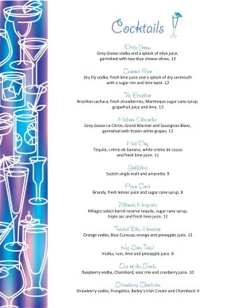 drinks menu template free cocktail menu template bar menus