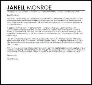 Cover Letter Sle For Finance by Sle Cover Letter For A Finance Cover Letters