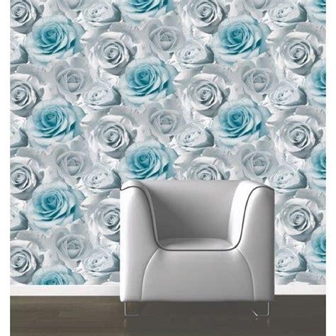 wallpaper grey roses muriva madison floral flower rose bloom blue silver grey