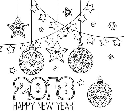 new year 2018 ornaments printable new year 2018 coloring pages