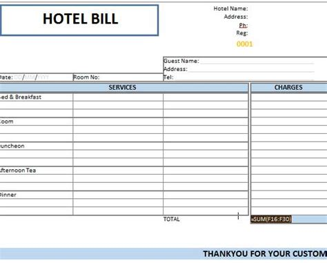 hotel room receipt template booking receipt template guest bill used in hotels